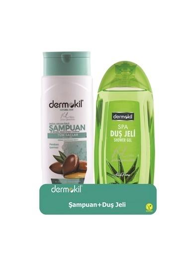 Dermokil Dermokil Argan Şampuan 400ML, Aloe Vera Duş Jeli 500Ml 2'li Setr Renksiz